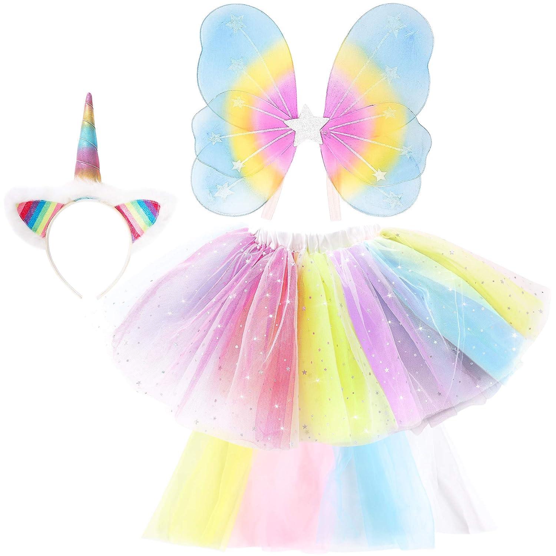 GirlZone Regalos para niñas, Disfraz de Unicornio Multicolor Traje Arcoíris con Diadema, Alas, Cola y Tutú   para Niñas 3-7 Años   Juguete Cumpleaños ...
