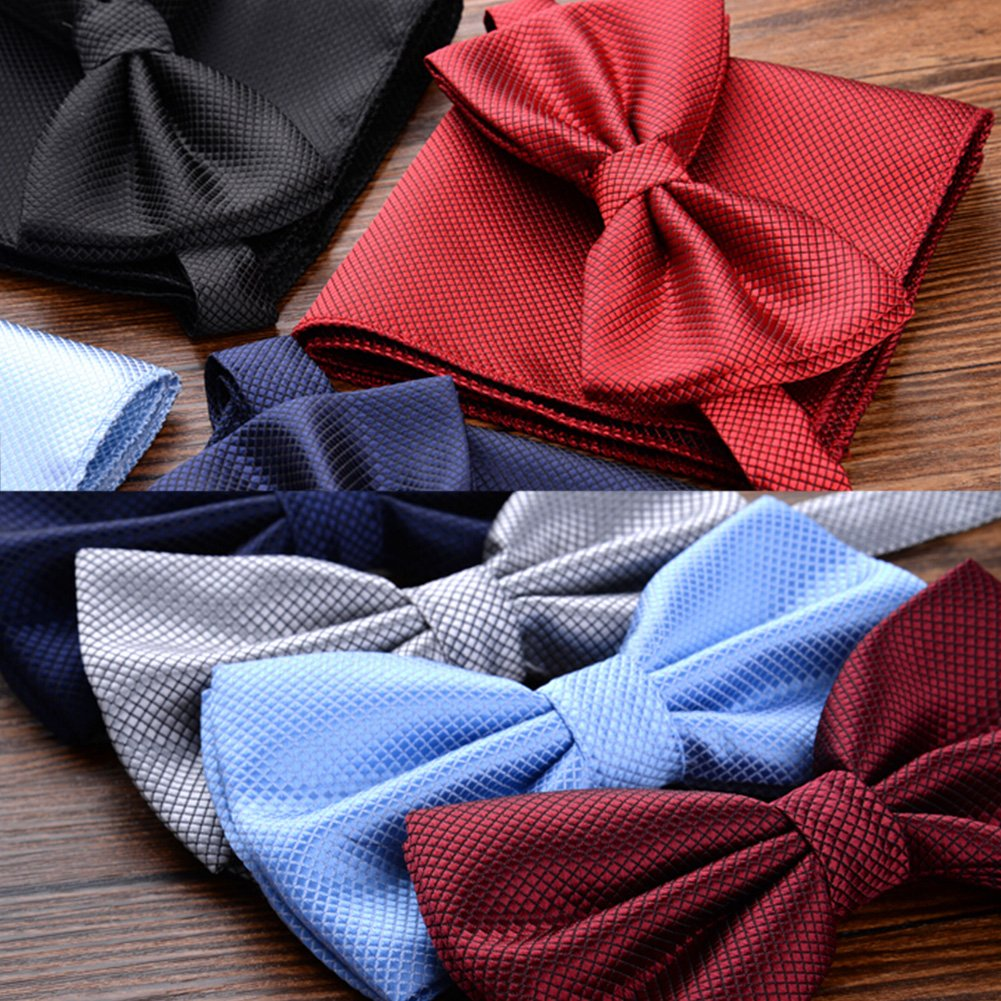 Stylish Wedding Bow Tie Pocket Square Pocket Cloth Handkerchief Wine Red