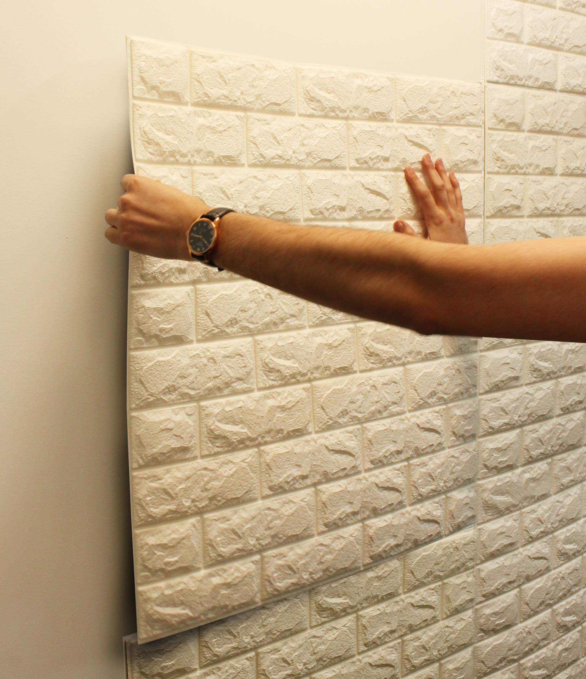 VViViD Self-Adhesive Faux Brick White 3D Foam Wall Paintable Panel 10-Piece Pack