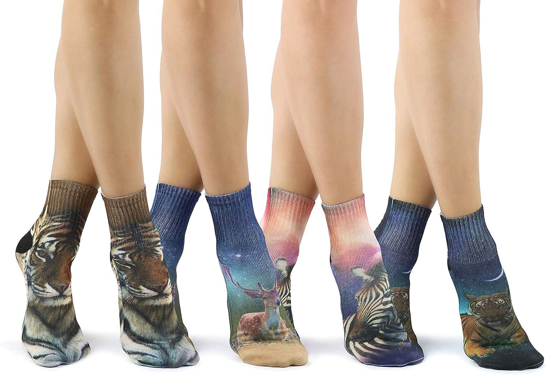 6 Pairs Of Ladies//Girls Colourful Horse Print Socks UK Size 4-7 Eur Size 35-39
