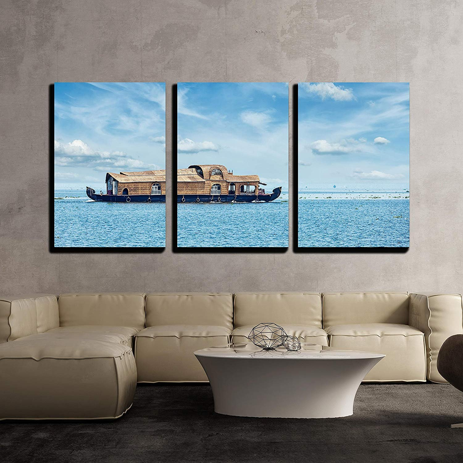 BABE MAPS 16''x24''x3 Panels Wall Decor Artwork Ready Hang Paintings Tourist Houseboat in Vembanadu Lake, Kerala, India Painting on Canvas Home Decorations