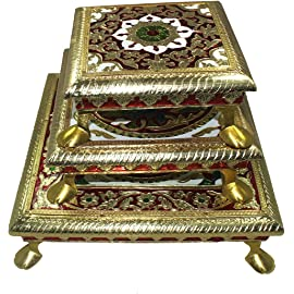Paramsai Meenakari Work Brass All Purpose Chowki - Set Of Three (19 cm | 14 cm | 12 cm)