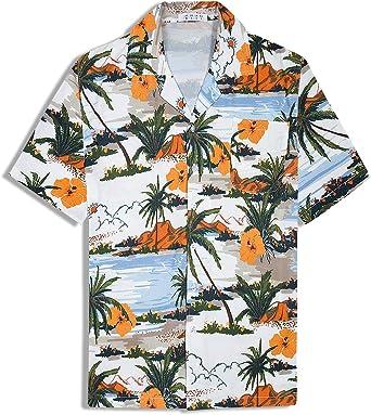 Camisa Hawaiana para Hombre Camisa de Manga Corta Camisa Informal de Flores Aloha Camisas de Fiesta de Playa de Vacaciones: Amazon.es: Ropa y accesorios