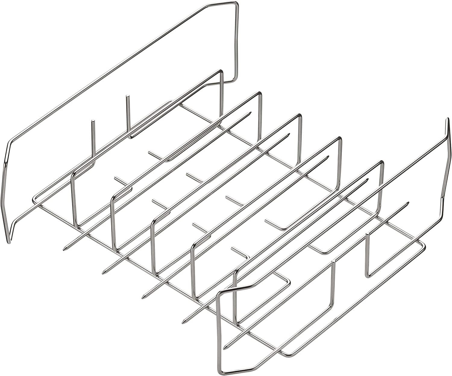"""Best Rib and Wing Rack for 18"""" Grills or Larger. Ribs on 1 Side or Chicken Wings on The Other. Holds 6 Ribs, or 36 Wings or 10 Legs, Multi-Purpose Rack"""