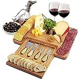 Bamboo Charcuterie Board and Knife Set, Bamboo Cheese Board Set for Wine and Cheese Board, Charcuterie Board Set for Meat and