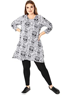 038aa2268 Lovedrobe Koko Women's Plus Size Black and White Halloween Skull Print  Swing Dress