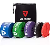 VIA FORTIS Resistance Bands | Fitness Bands for Full Body Workout, Pull Ups, Stretching, and Pilates | 5 Resistance Levels Available - Carry Bag and Exercise Guide Included