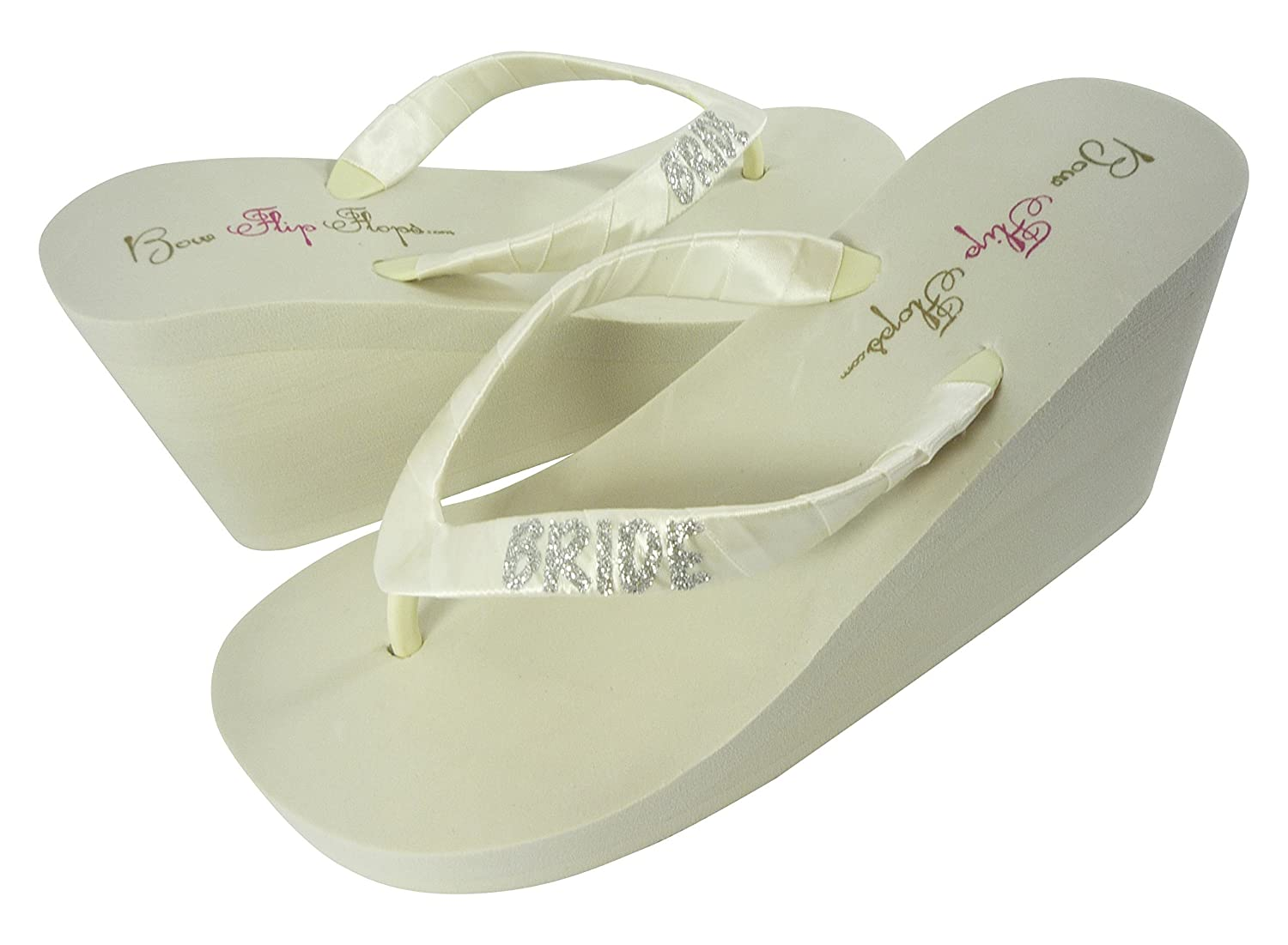 Customizable Glitter Bride Wedge Flip Flops Wedding Sandals Ivory White in Low or High Heel