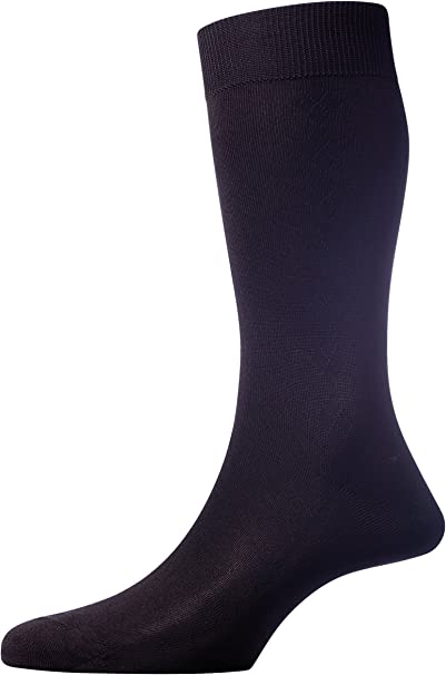 Pantherella Fabian Herringbone Over the Calf Socks Black
