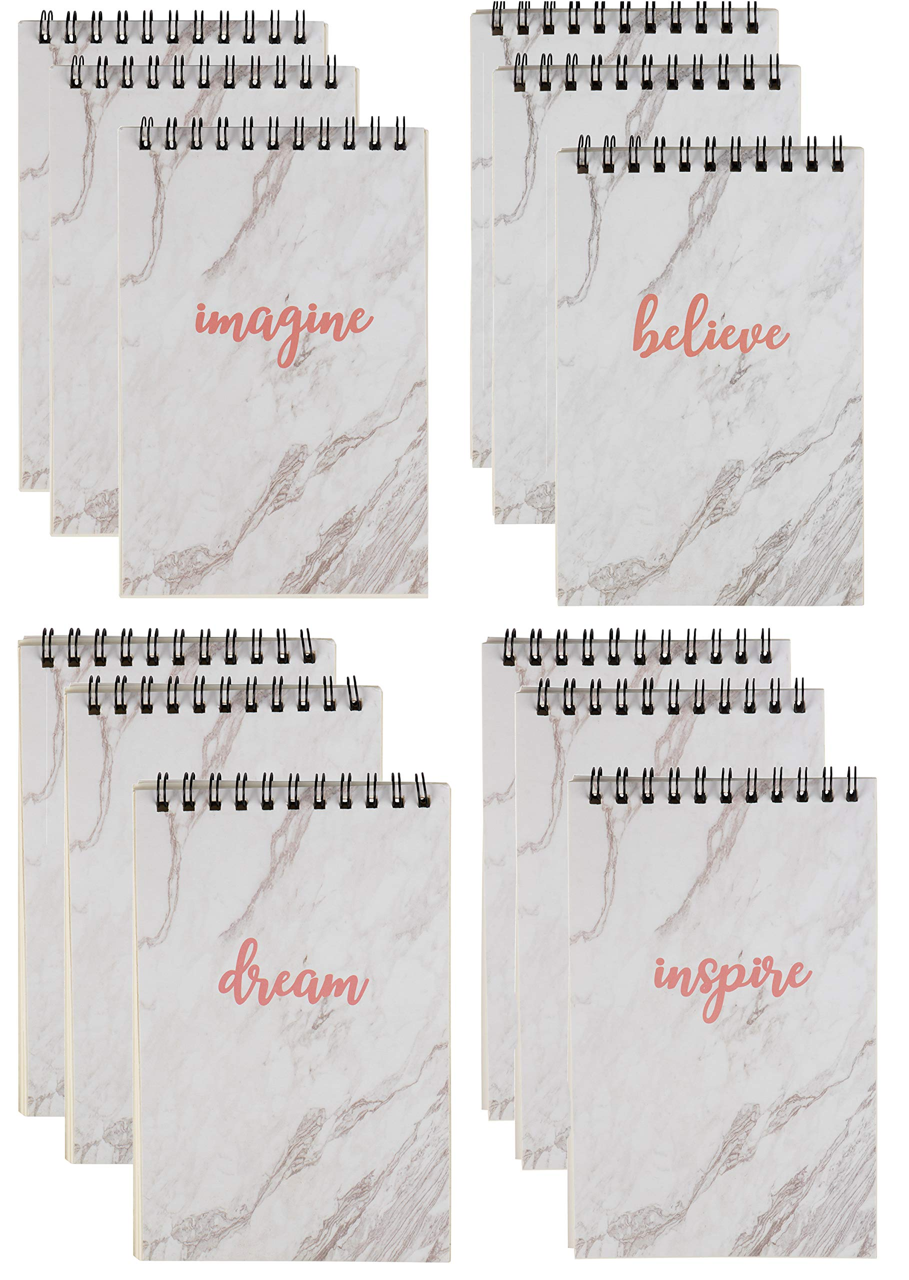 Paper Junkie Mini Inspirational Sayings Spiral Notepads (12 Pack) 4 Marble Designs by Paper Junkie