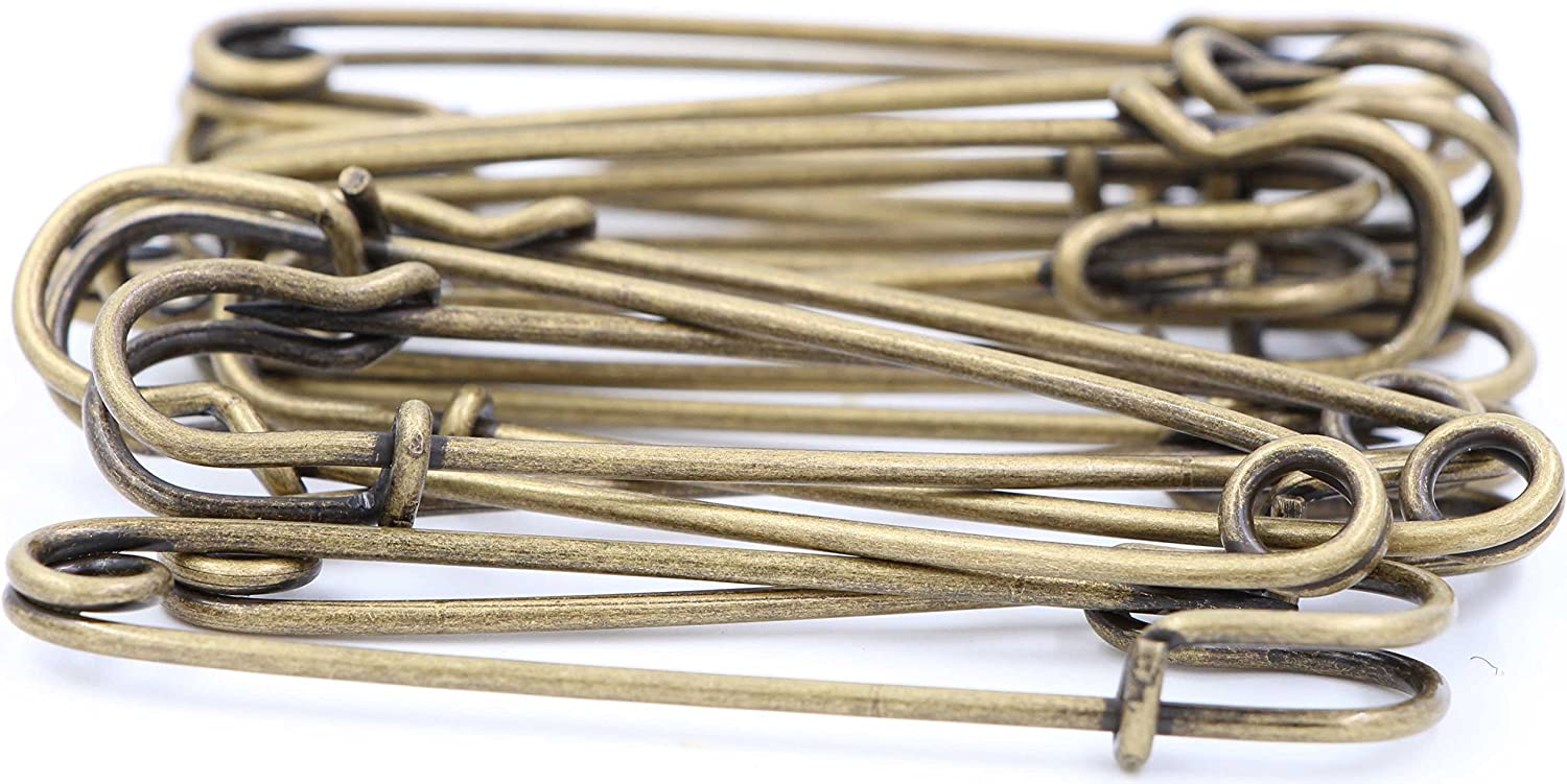 12pcs, Bronze Safety Pins Large Heavy Duty Safety Pin Kilts LeBeila 12pcs Blanket Pins 3 inch Stainless Steel Wire Safety Pin Extra Strong /& Sturdy Bulk Pins for Blankets Crafts Skirts