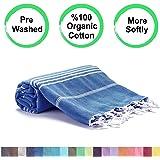 Realgrandbazaar Pestemal Turkish Towel %100 Cotton - Pre Washed , More Softly 39 x 69 Peshtemal, Beach, Bath, Spa, Hammam, Super Soft Towels (Oeko-TEX | Oeko-TEX Standard 100) (Azure)
