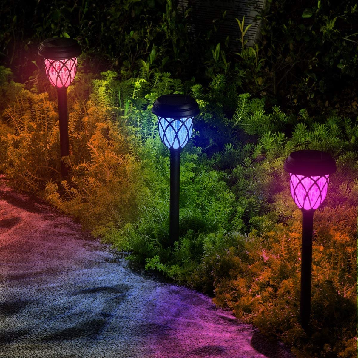 10 Pack Color Changing Solar Lights Outdoor Decorative for Garden Pathway Walkway, Solar Outdoor Decorations for Patio Garden Christmas.
