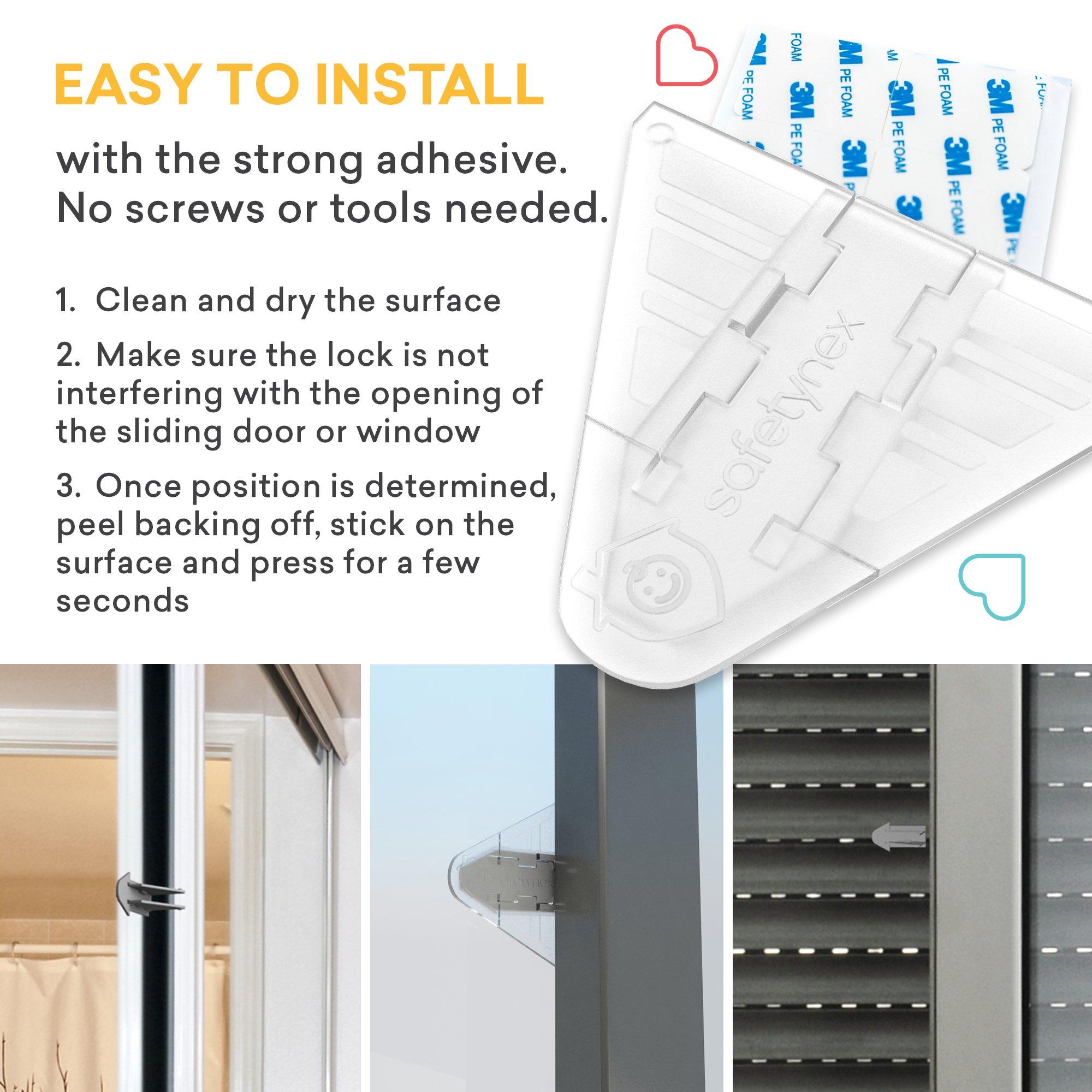 3m Adhesive Sliding Door Lock For Patio Closet Windows