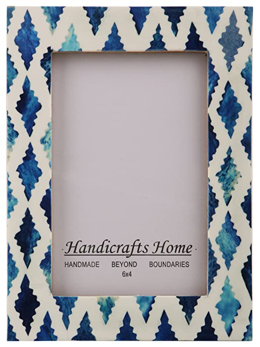 Handicrafts Home Picture Photo Frame Indigo Moorish Quatrefoil Handmade Naturals Bone Frames Photo Size 4x6 Indigo-1