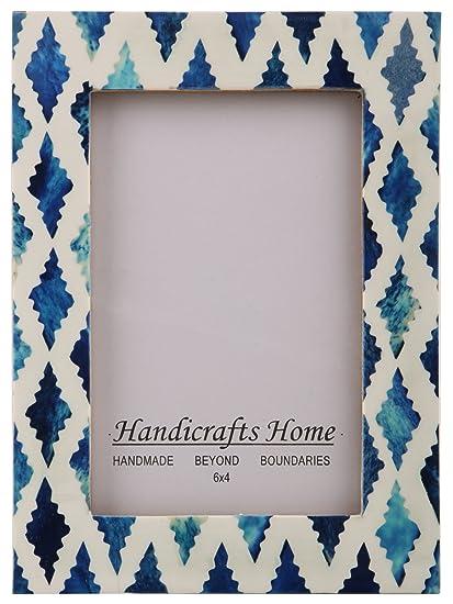 amazon com handicrafts home picture photo frame indigo moorish
