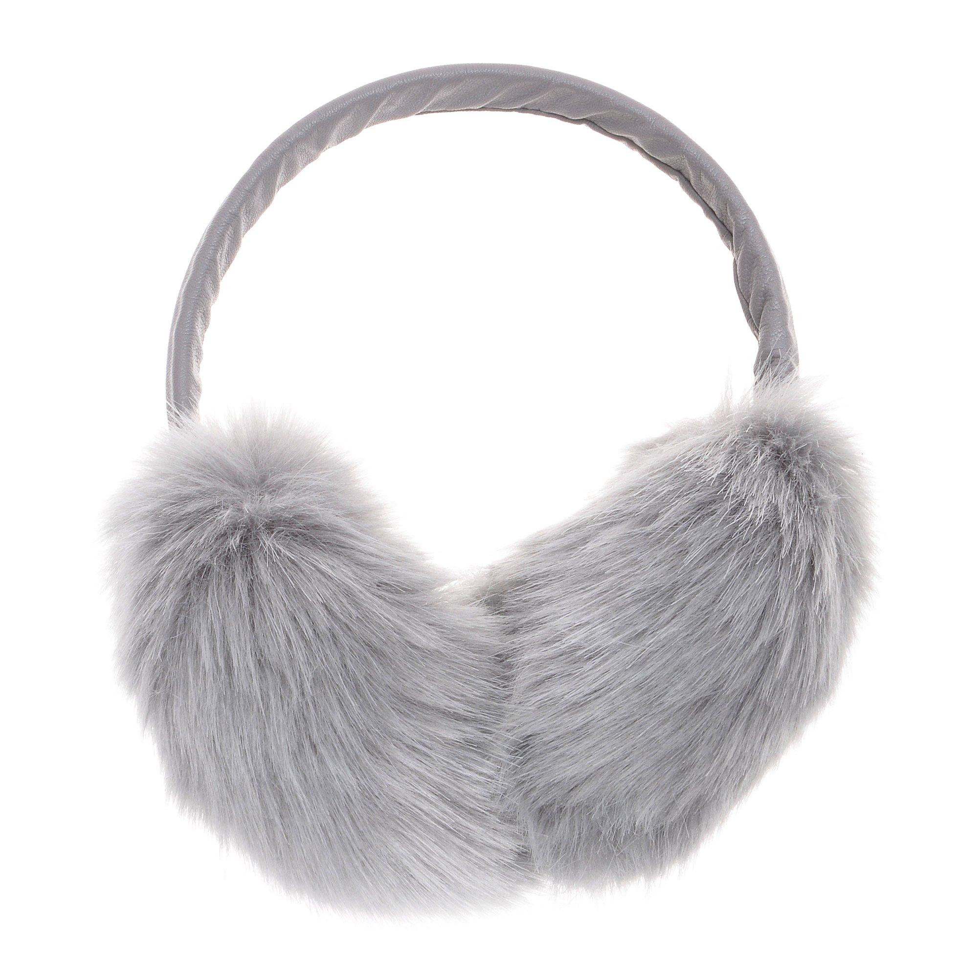 ZLYC Womens Girls Winter Fashion Adjustable Faux Fur EarMuffs Big Ear Warmers(Gray)