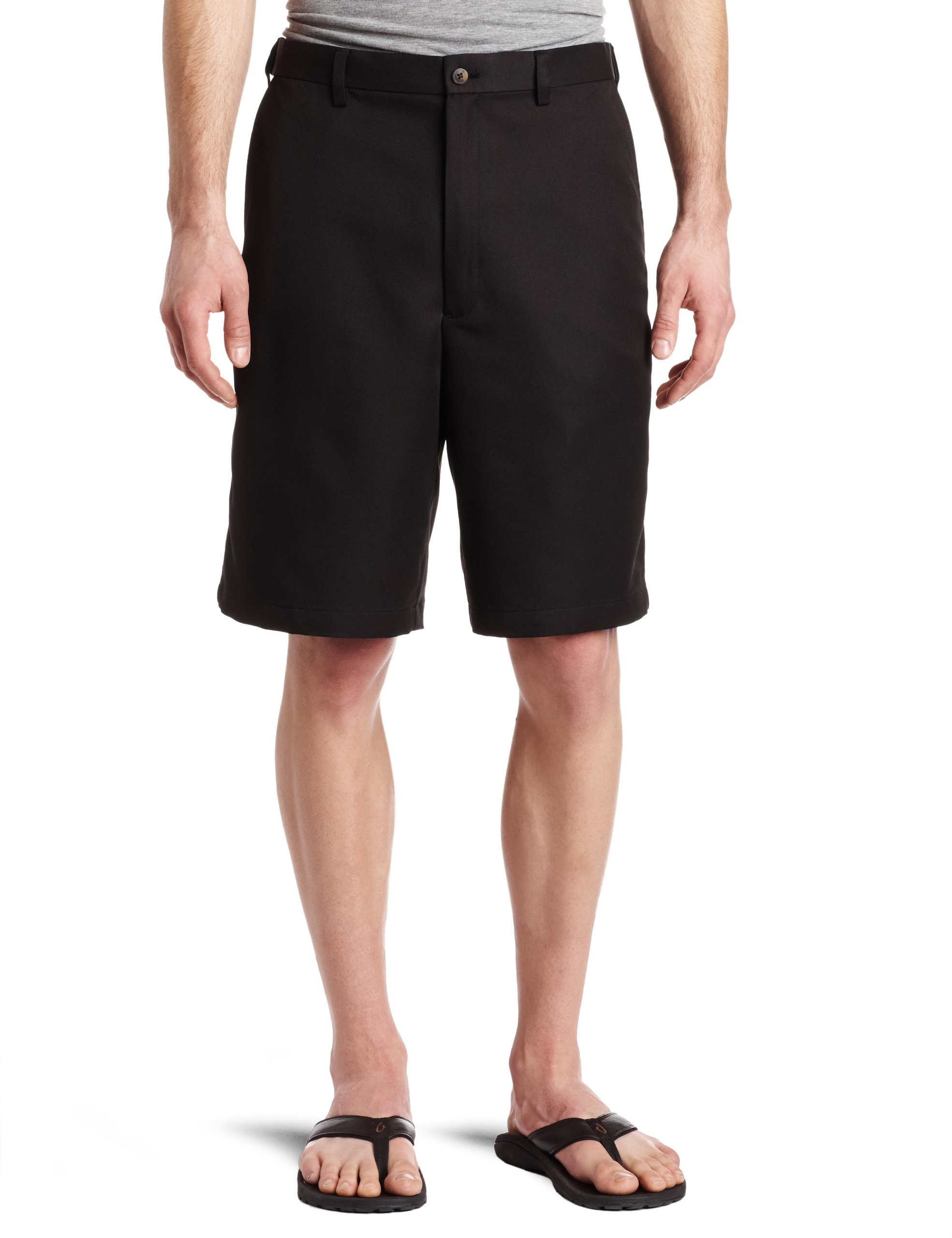 Haggar Men's Cool 18 Gabardine Hidden Expandable Waist Plain Front Short,Black,38