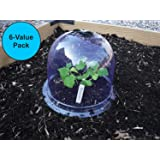 """6-Pack! GrowAway Small Reusable Plastic Mini Greenhouse, Garden Cloche Dome, Plant Covers Frost Guard Freeze Protection for Plants Outdoors, Garden Tools, Garden Accessories - 7.87"""" Diam. x 6.69"""" H"""