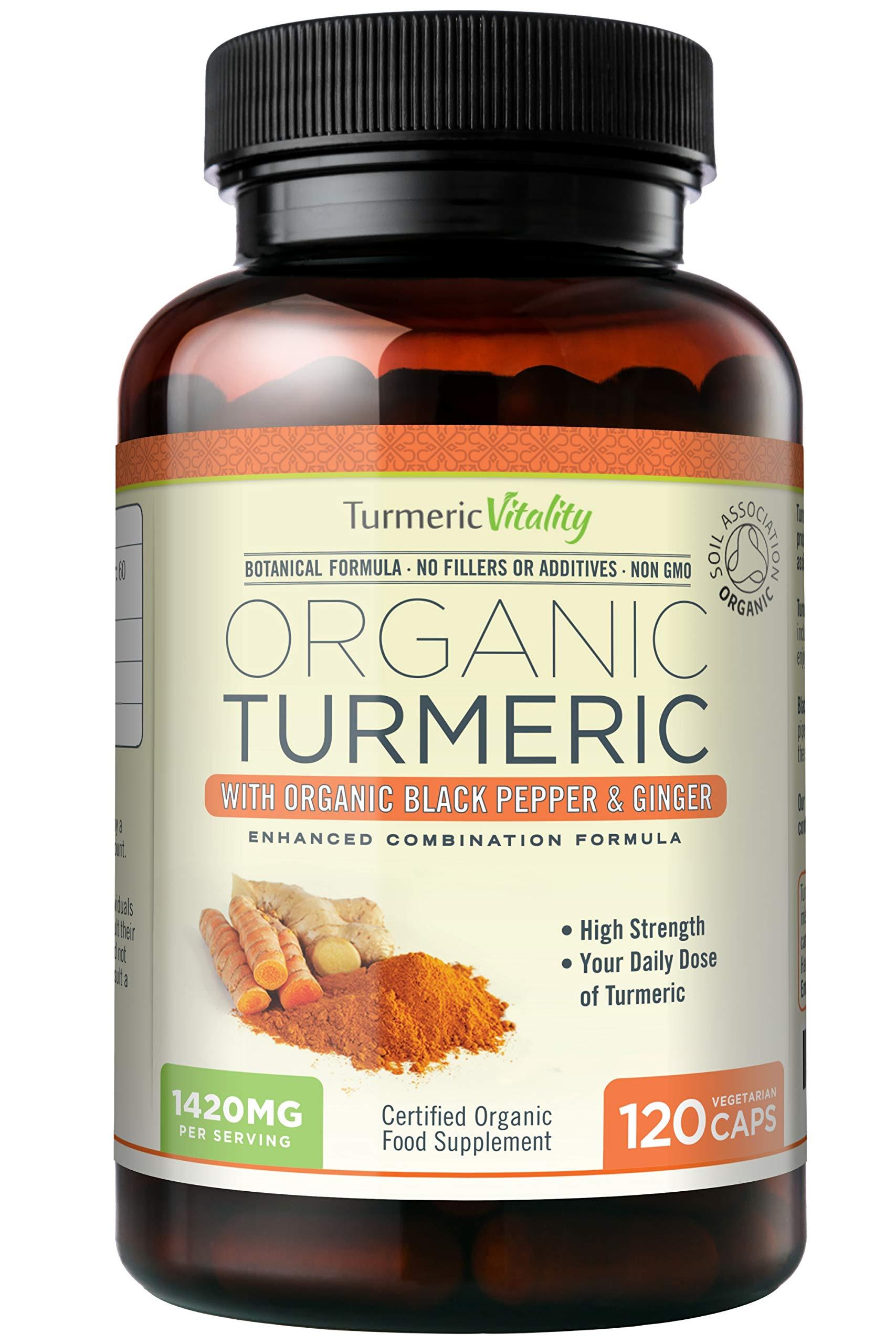 Turmeric Vitality Organic Turmeric Curcumin Capsules 1420mg High Strength Serving with Black Pepper & Ginger for Maximum Absorption of Curcumin | 120 Veg Capsules - Certified Organic Supplement