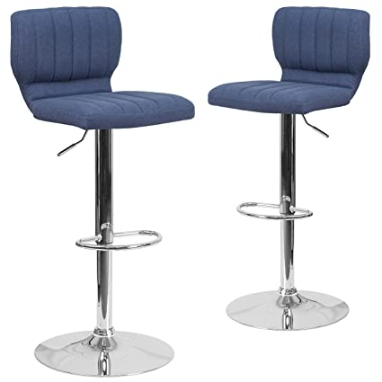 info for 82be7 0b589 Flash Furniture 2 Pk. Contemporary Blue Fabric Adjustable Height Barstool  with Chrome Base