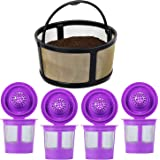 4-Pack Refillable K Cups Pod With Reusable Mesh Ground Coffee Filter Basket Fit for Keurig K-Duo Essentials and K-Duo…