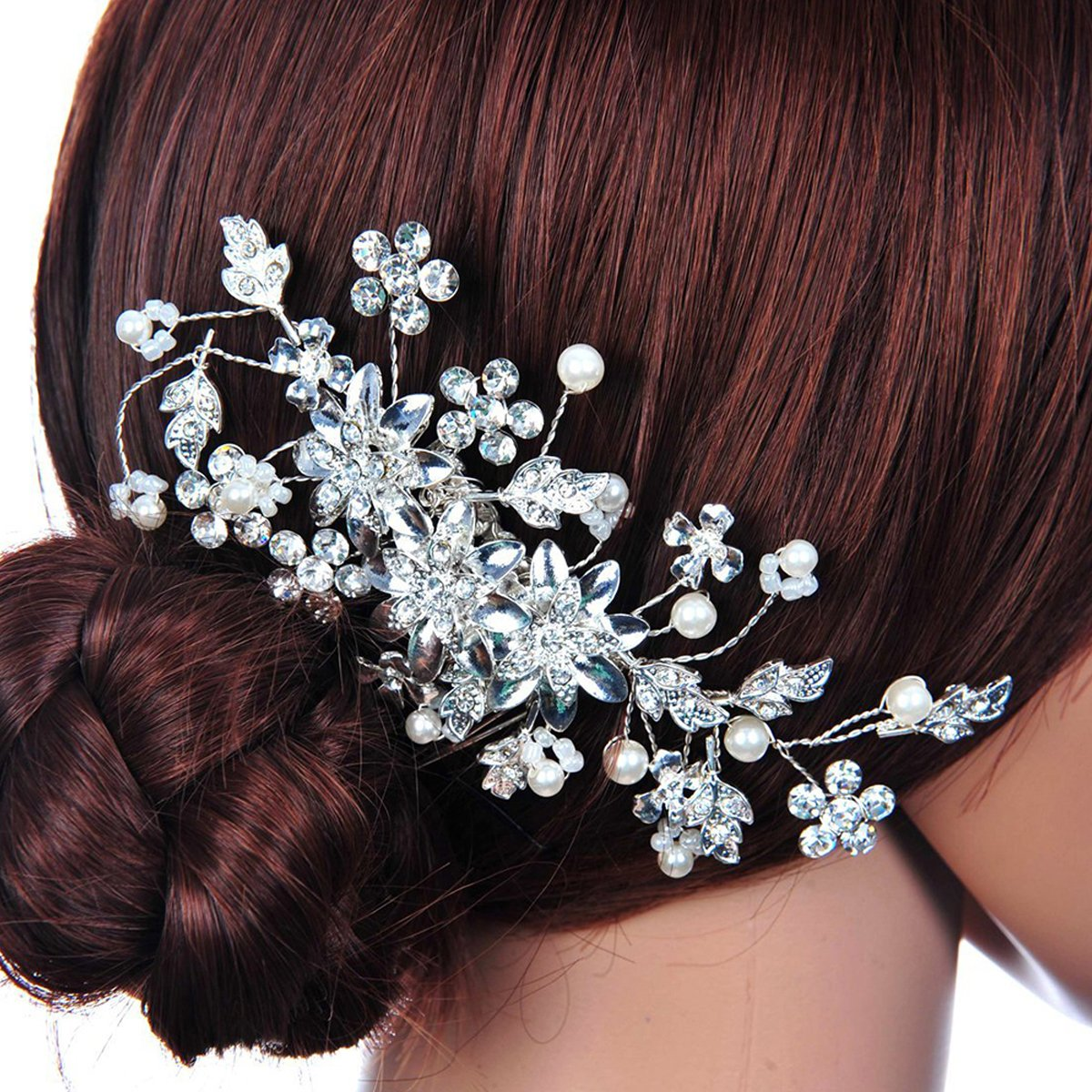 Pixnor Hair Pin Bridal Hair Comb for Wedding Crystal Rhinestones Pearls Decor(Silver)