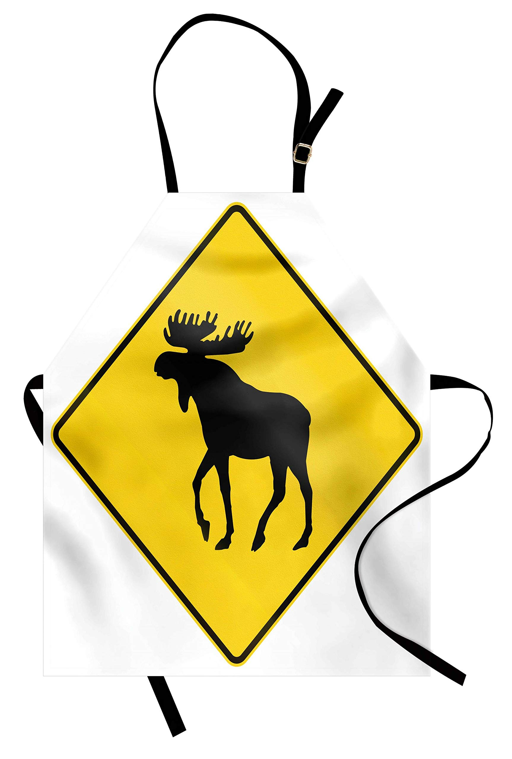 Lunarable Moose Apron, Canadian Road Traffic Warning Sign with Elk Crossing Solitary Animals Print, Unisex Kitchen Bib Apron with Adjustable Neck for Cooking Baking Gardening, Yellow and Black