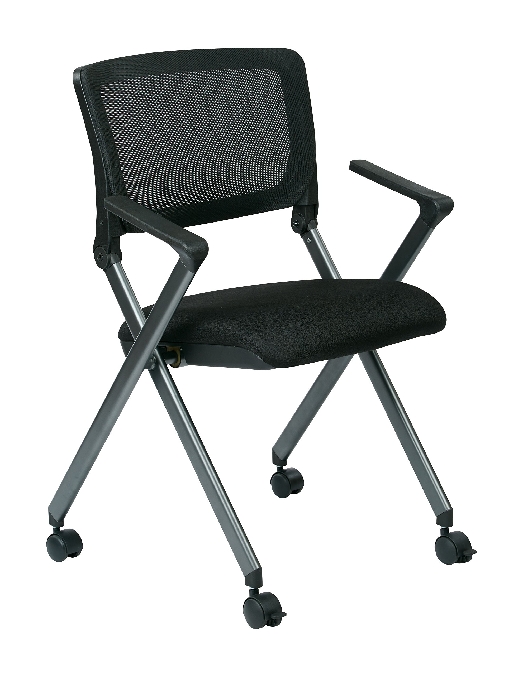 Office Star Breathable Flexible Mesh Back Folding Nesting Chair with Padded Fabric Seat and Casters, 2-Pack, Black with Titanium Frame