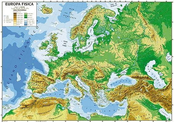 Cartina Geografica Europa Meridionale.Carta Geografica Cm 100x140 Europa Amazon It Giochi E Giocattoli