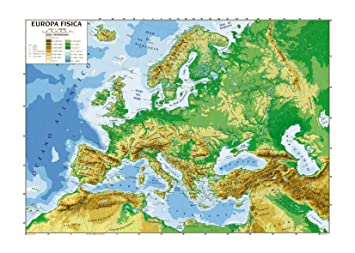 Cartina Europa Geografica.Carta Geografica Cm 100x140 Europa Amazon It Giochi E