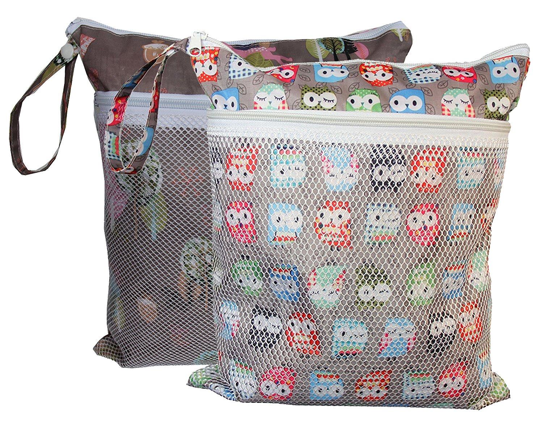 Wet Dry Cloth Diaper Bags 2 pcs Set by Sleeping Lamb (Giraffe and Owls)