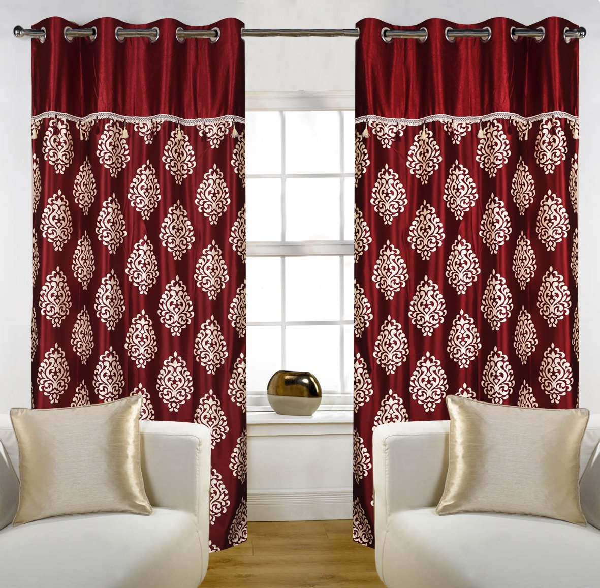 Buy Home Candy Eyelet Fancy Polyester 2 Piece Door Curtain Set ...