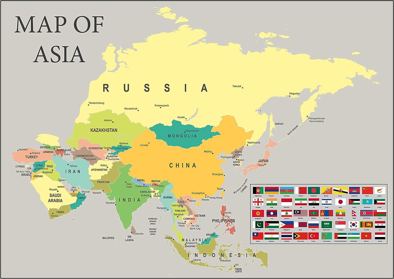 Cartina Politica Dell Asia Con Stati E Capitali.Mappa Dell Asia Che Mostra Tutti I Capitali Lungo Con Bandiere Disponibile Con Cornice A1 Amazon It Casa E Cucina