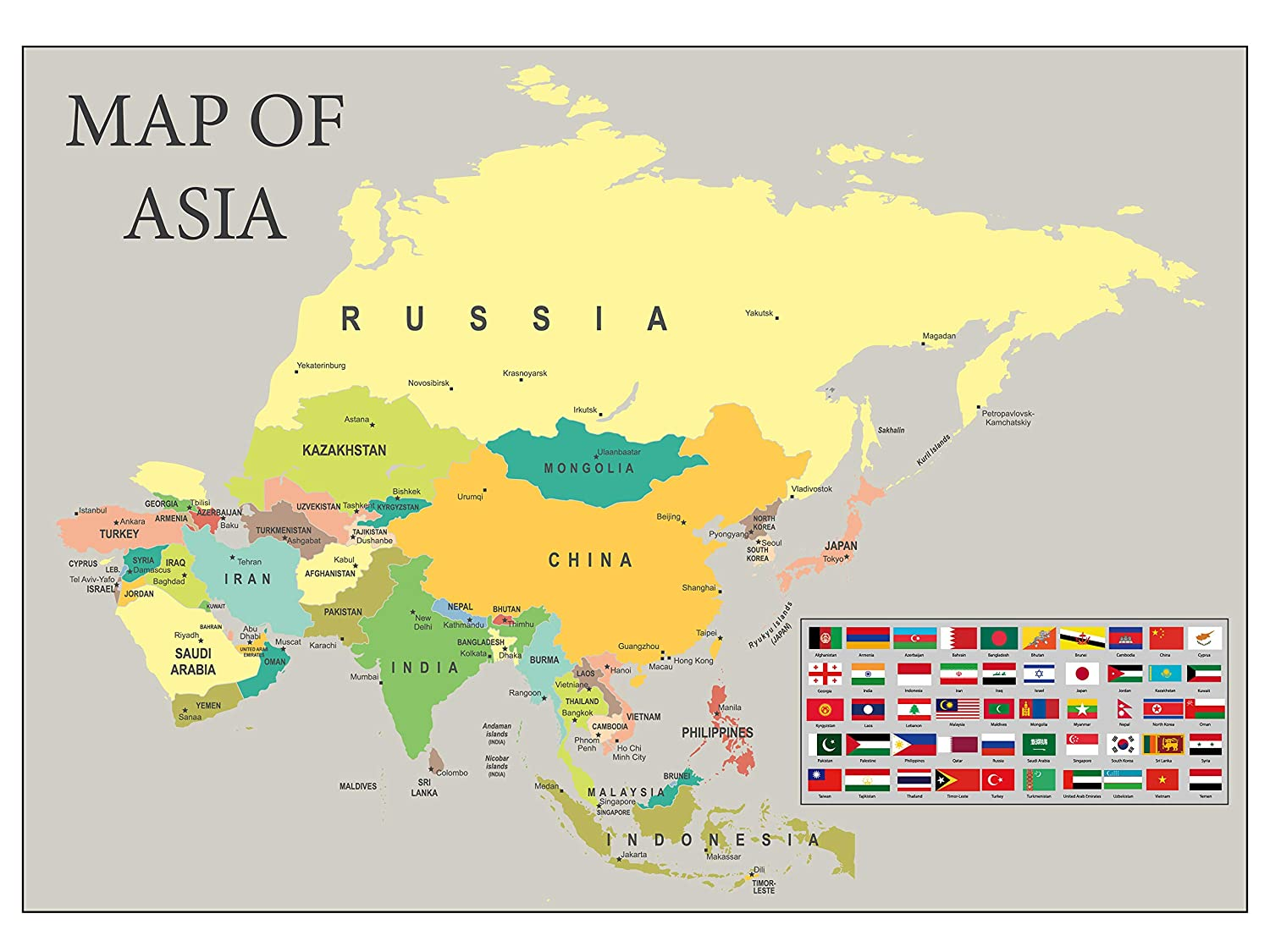 Map Of Asia With Capital Cities.Sonicprint Map Of Asia Showing All Capital Cities Along With Flags Available Framed