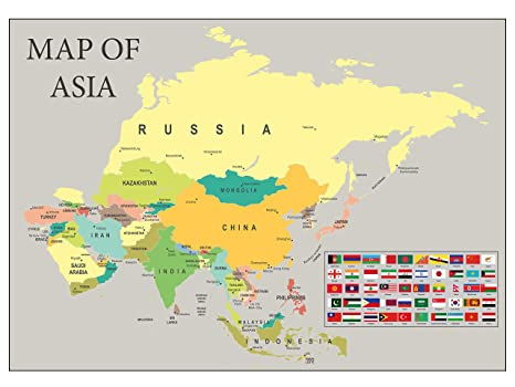 SonicPrint Map of Asia showing all capital cities along with flags.  Available Framed.