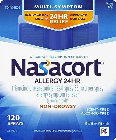 Nasacort Allergy 24 Hour Nasal Spray, 120 Sprays (0 57 fl  Ounce), Provides  Relief for Allergy Symptoms