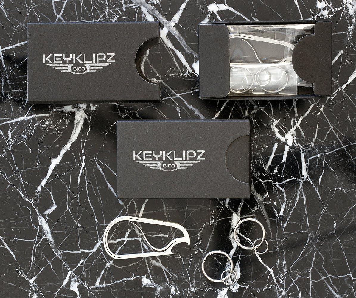 KR20B Stone Finish Bico Keyklipz Bottle Opener Titanium Keyring//Carabiner