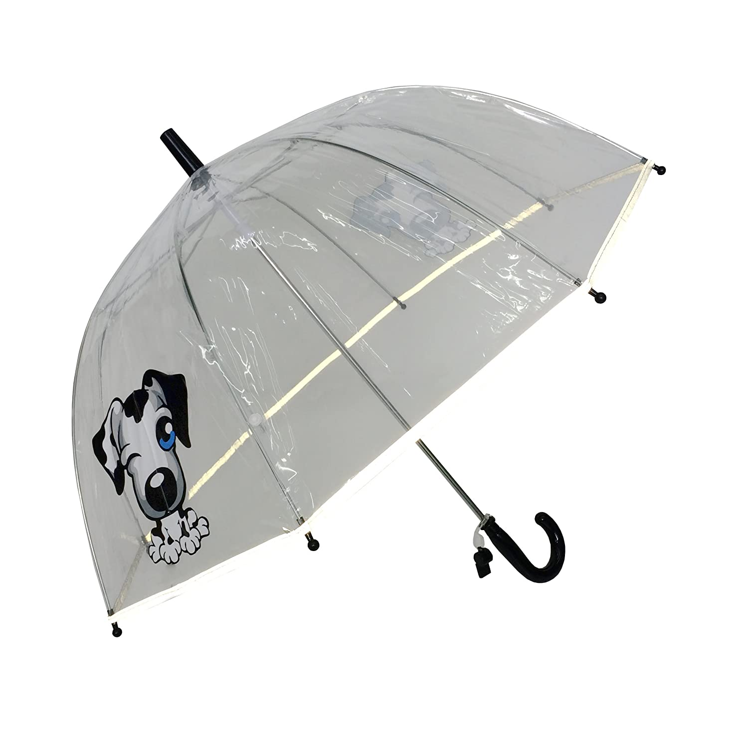 Amazon.com: SMATI KidsUmbrella dome transparent - The first umbrella has reflective stripe – extra safty to children in the darkness (Black Dog): Clothing