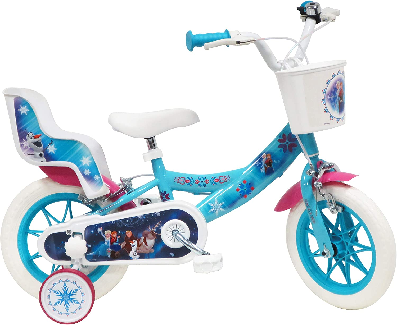 Disney - Bicicleta de 12 Pulgadas con 2 Frenos, Cesta Delantera y portamuñecas Trasera + 2 estabilizadores extraíbles para niña, Azul Turquesa, Blanco y Fucsia.