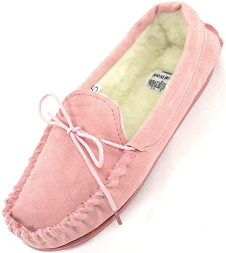 fad631ba6a0 SNUGRUGS Ladies Womens Genuine Suede Leather Moccasin Slippers with Warm  Wool Lining - Pink