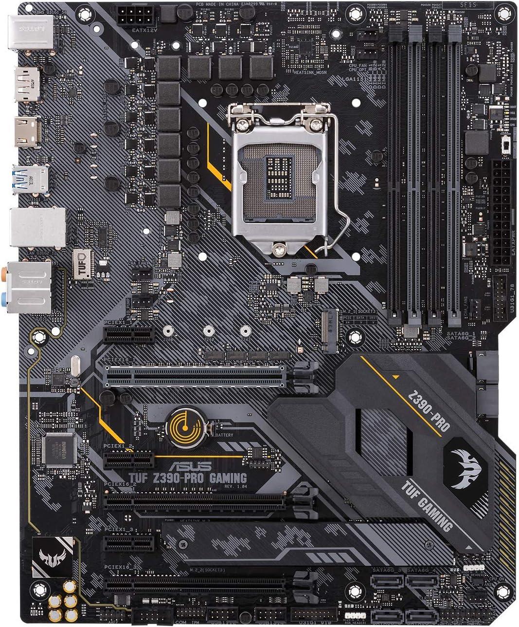 ASUS TUF Z390-PRO GAMING - Placa base Gaming ATX Intel de 8a y 9a gen. LGA1151 con OptiMem II, iluminación Aura Sync RGB, DDR4 4266+ MHz, M.2 a 32 Gbps, Intel Optane memory y USB 3.1 Gen. 2 nativo