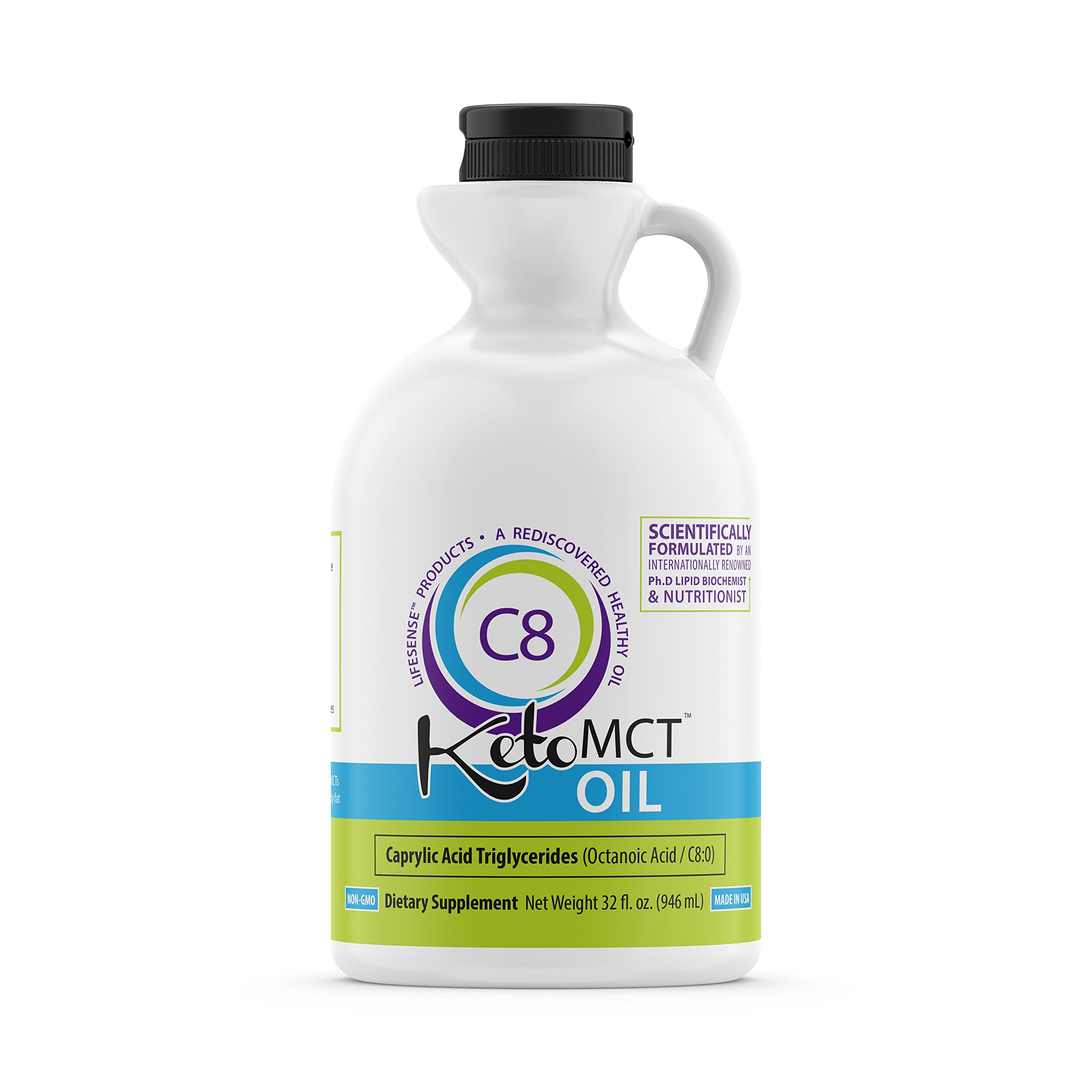 Premium C8 MCT oil, 32 oz, Custom easy pour Bottle, Pure MOST POTENT on the MARKET, Developed by world-class Ph. D doctor and professor of nutrition, trusted choice of Practitioners, made in USA