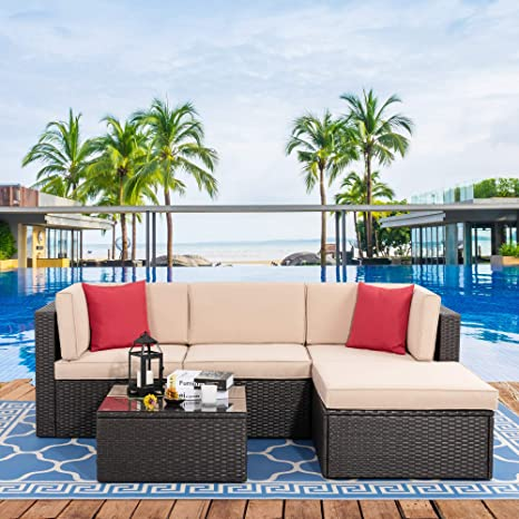 vongrasig 5 piece patio furniture sets all weather brown pe wicker outdoor couch sectional patio set small patio conversation set garden patio sofa
