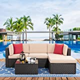 Vongrasig 5 Piece Patio Furniture Sets, All-Weather Brown PE Wicker Outdoor Couch Sectional Patio Set, Small Patio Conversati