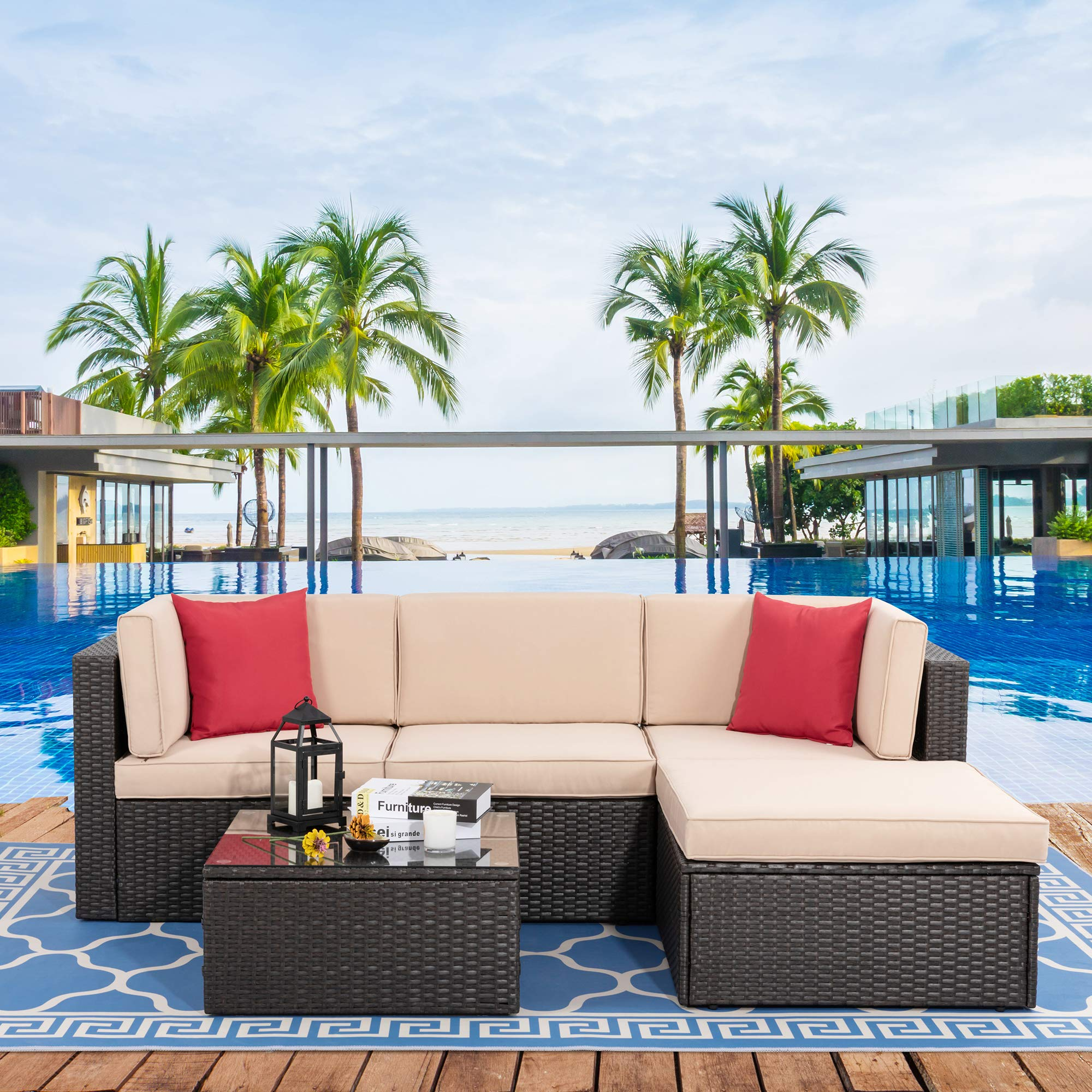 Vongrasig 5 Piece Patio Furniture Sets, All-Weather Brown PE Wicker Outdoor Couch Sectional Patio Set, Small Patio Conversation Set Garden Patio Sofa Set w/Ottoman, Glass Table, Red Pillow, Beige