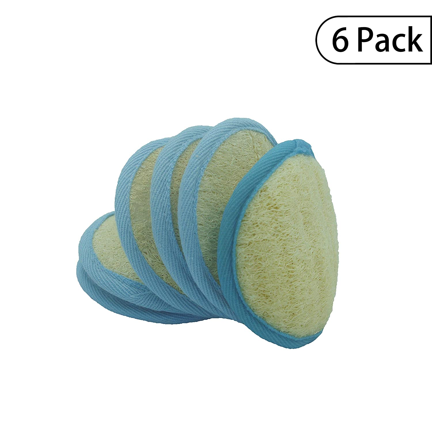 Bleu Bath (6 Pack) Exfoliating Loofah Pad in 100% Natural and Organic Luffa Loofa and Soft Bamboo Terry Material with Hook and Elastic Hand Strap-Scrubber Brush for Men and Women or Sensitive Skin