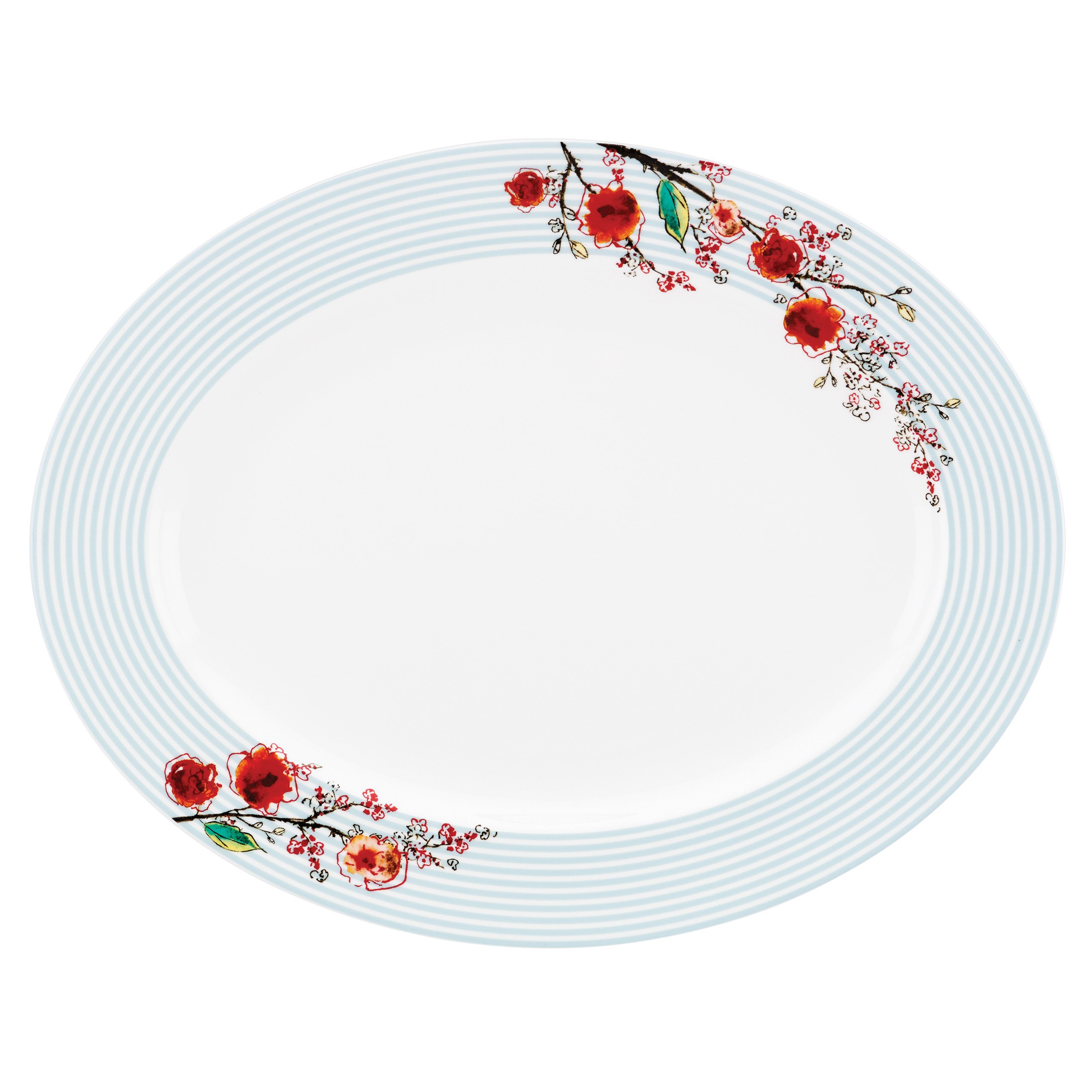Lenox Chirp Stripe Oval Platter, White