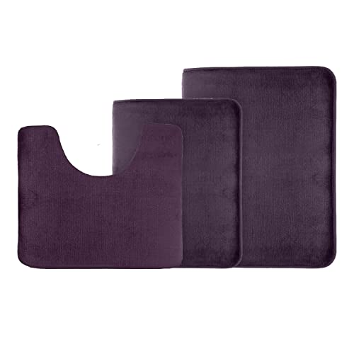 Clara Clark 3 Pack Bath Mat Set 226 Large Small And