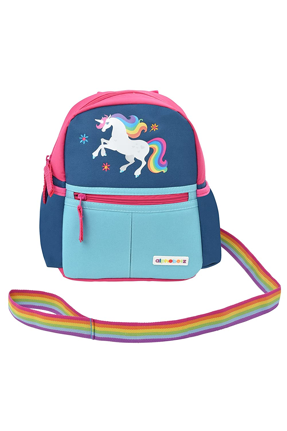 Alphabetz Unicorn Toddler Backpack with Leash, Pink, Blue, Universal Size for Girl 10240
